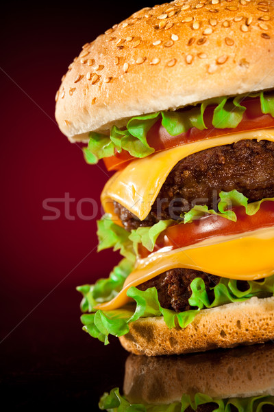 Lecker appetitlich Hamburger rot Blatt bar Stock foto © cookelma
