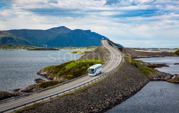Tourist bus traveling on the road in Norway Stock photo © cookelma