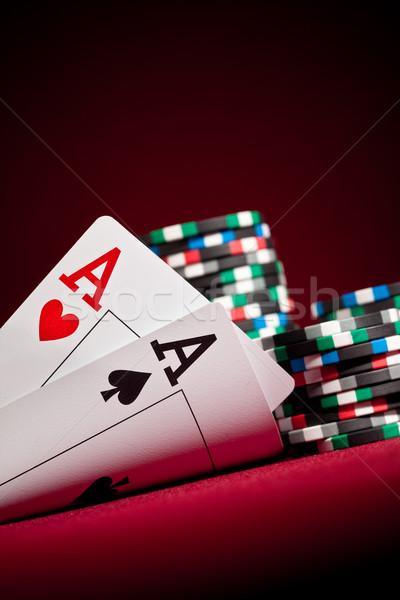 Aces vermelho jogar jogos jogos de azar par Foto stock © cookelma