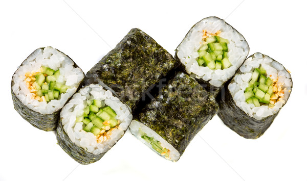 Sushi Roll (Kappa maki roll) on a white background Stock photo © cookelma