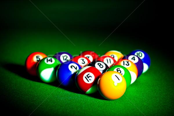 Biliárd gömbök tizenöt zöld ruha asztal Stock fotó © cookelma