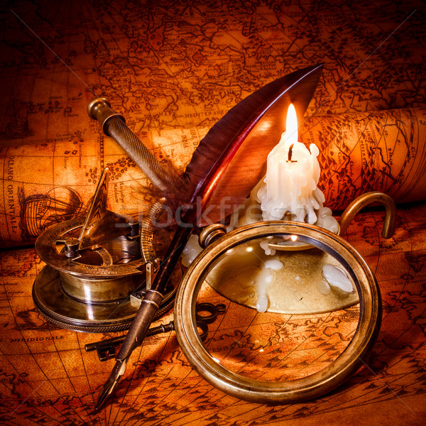 Vintage stilleven oude kaart kompas vergrootglas Stockfoto © cookelma