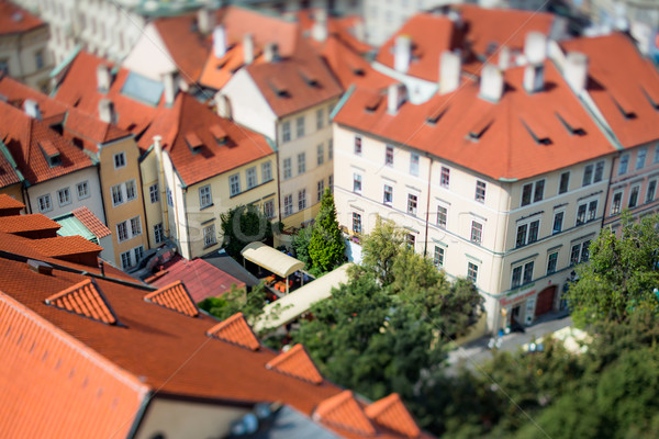 Prague view of the city from above. Tilt shift lens. Stock photo © cookelma