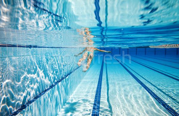 Basen kobieta pływanie basen wody sportu Zdjęcia stock © cookelma