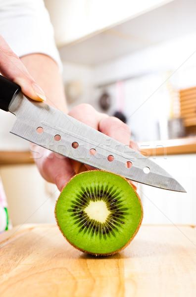 Handen kiwi vers keuken vruchten Stockfoto © cookelma