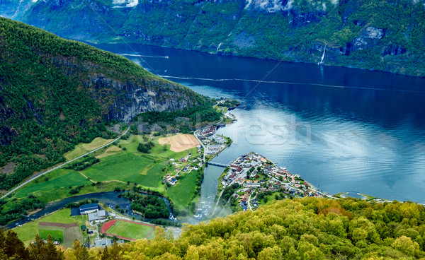 Beautiful Nature Norway Stegastein Lookout. Stock photo © cookelma