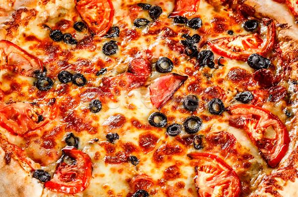 Foto stock: Calabresa · pizza · apetitoso · enchimento · quadro
