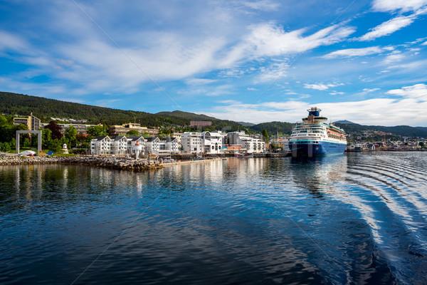 Norvegia clima città città rose nubi Foto d'archivio © cookelma