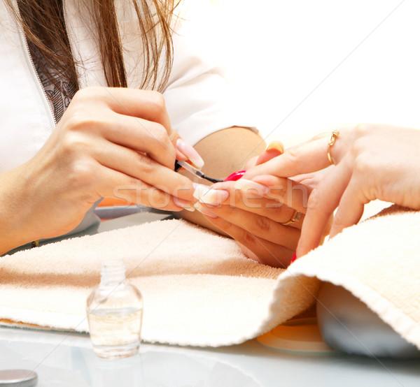 Manicure processo feminino mãos mulheres moda Foto stock © cookelma