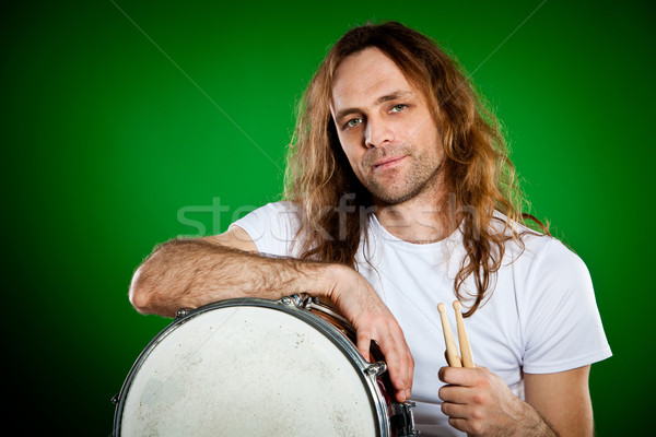 Trommelaar man portret groene handen mannen Stockfoto © cookelma