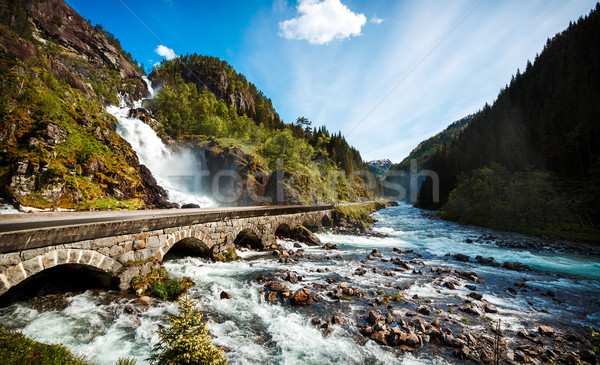 Latefossen waterfall Norway Stock photo © cookelma