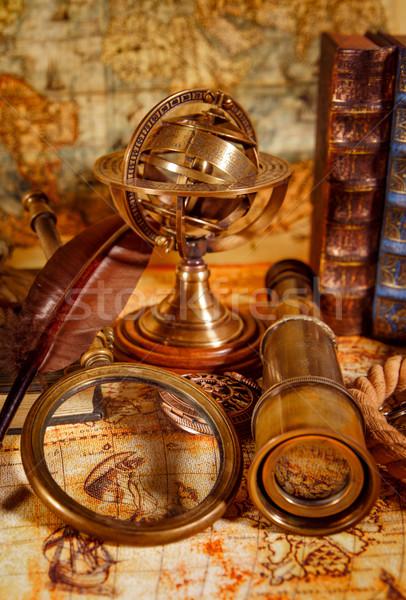 Stock fotó: Klasszikus · nagyító · hazugságok · ősi · világtérkép · csendélet