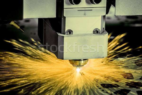 Laser Schneiden Metall modernen industriellen Technologie Stock foto © cookelma