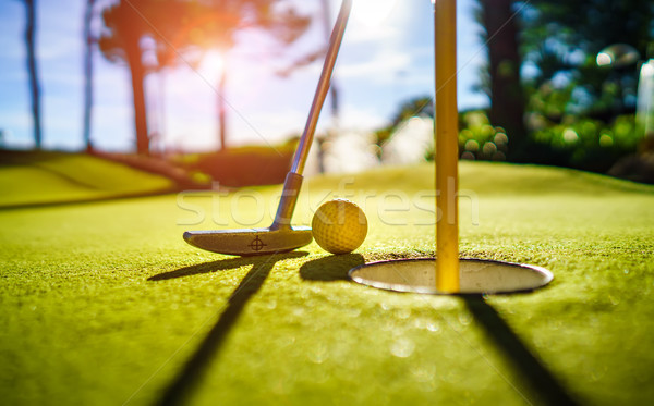 Mini Golf yellow ball with a bat near the hole at sunset Stock photo © cookelma