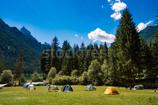 Camping on the shores of lake Stock photo © cookelma