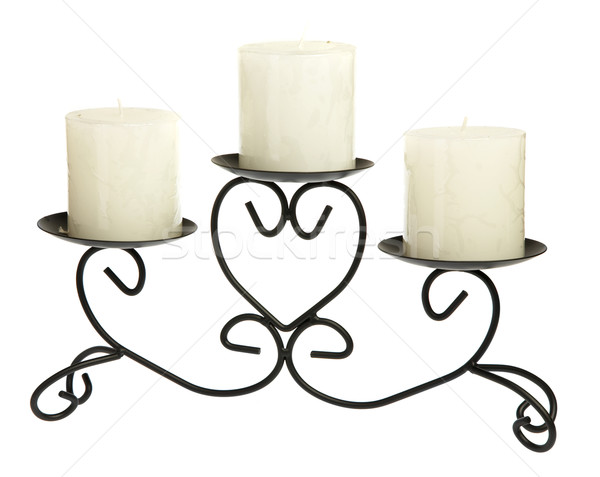 Candlestick with candles on a white background Stock photo © cookelma