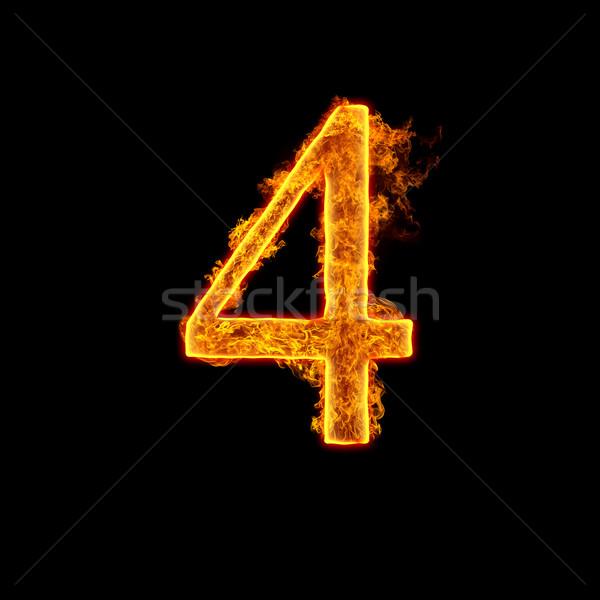 Fire alphabet number 4 four Stock photo © cookelma