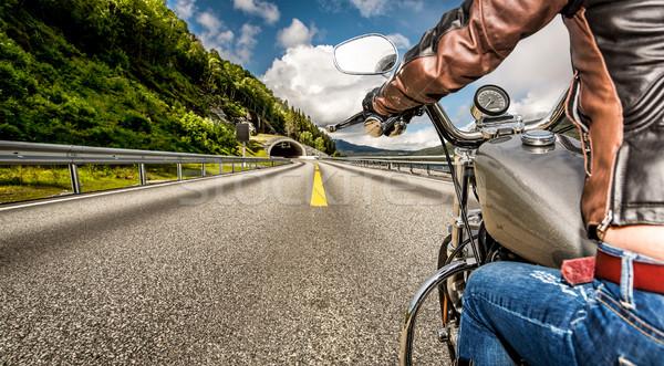 Motoros lány kilátás motorkerékpár eső nő Stock fotó © cookelma