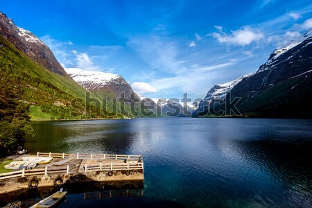 Geiranger fjord, Norway aerial photography. Stock photo © cookelma