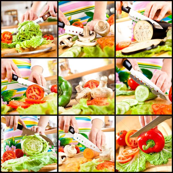 Stock fotó: Kezek · vág · zöldségek · mögött · friss · zöldségek · asztal
