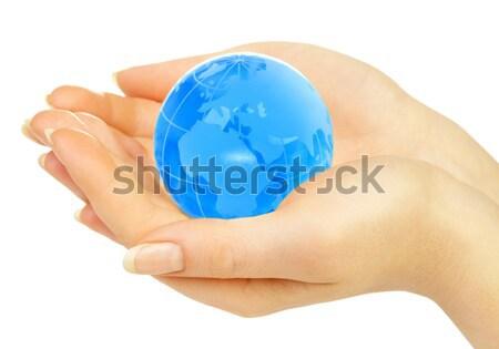 Foto stock: Mãos · manter · globo · mulheres · mão · mapa