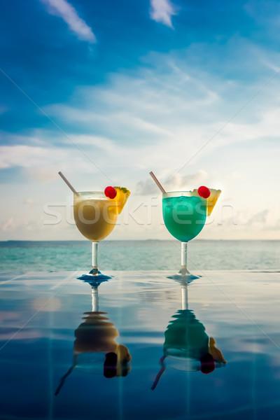 Coquetel piscina indiano oceano Maldivas praia Foto stock © cookelma
