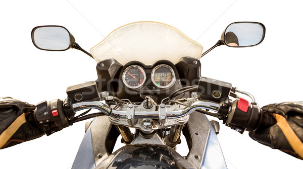 Biker First-person view isolated Stock photo © cookelma
