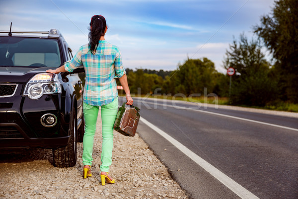 Woman with an empty tank of gas Stock photo © cookelma