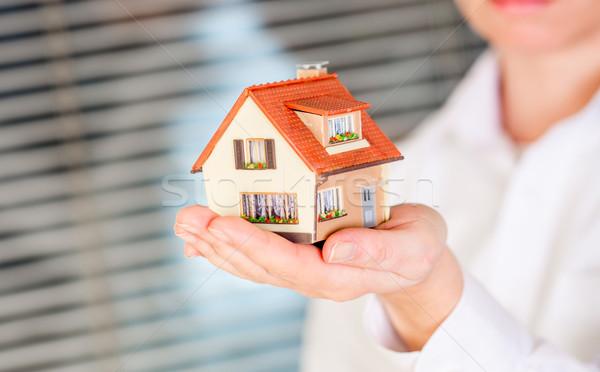 Domu ludzi ręce biały działalności rodziny Zdjęcia stock © cookelma