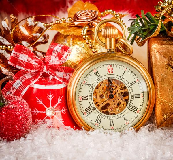 Christmas pocket watch Stock photo © cookelma