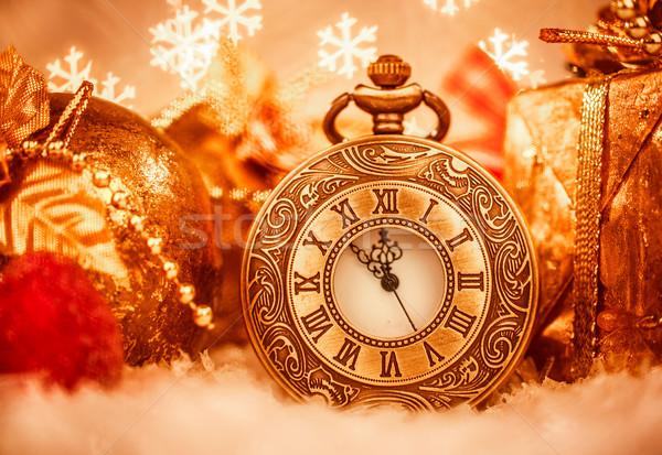 Navidad reloj de bolsillo naturaleza muerta fiesta metal blanco Foto stock © cookelma