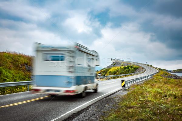 Norway. Caravan car travels on the highway. Stock photo © cookelma