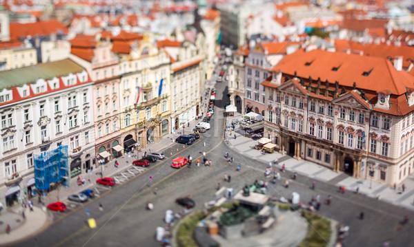 Praag stad boven verschuiven lens Stockfoto © cookelma