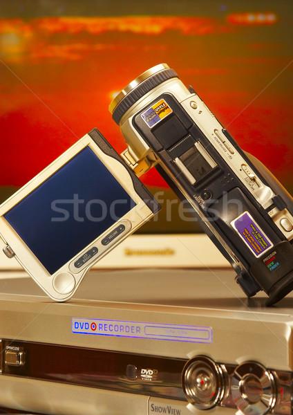 Videókamera játékos televízió film kék képernyő Stock fotó © cookelma
