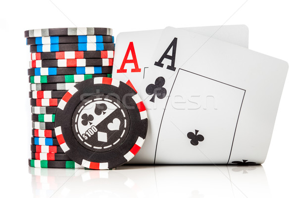 チップ 2 エース 孤立した 白 ポーカー ストックフォト © cookelma