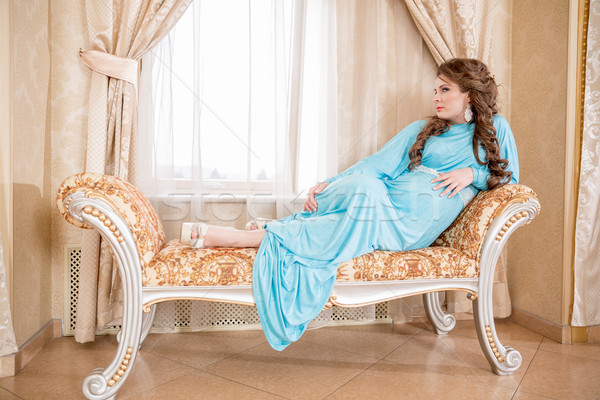 Mujer embarazada blanco camisa hermosa mujer embarazada nina Foto stock © cookelma