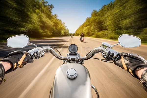 Motoros kilátás vezetés motorkerékpár aszfalt út Stock fotó © cookelma