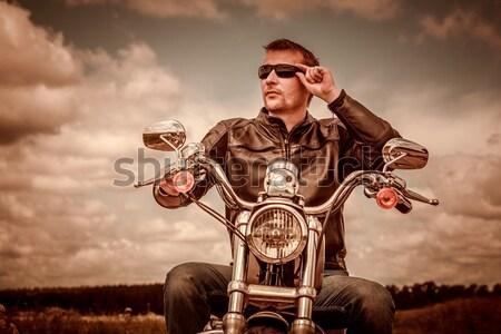 Dziewczyna posiedzenia motocykla okulary Zdjęcia stock © cookelma