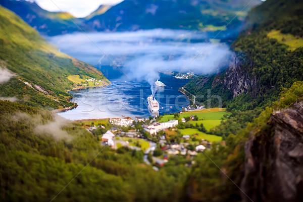Geiranger fjord, Norway Tilt shift lens. Stock photo © cookelma