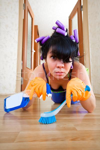 Stockfoto: Huisvrouw · vloer · huis · home · werken · werknemer