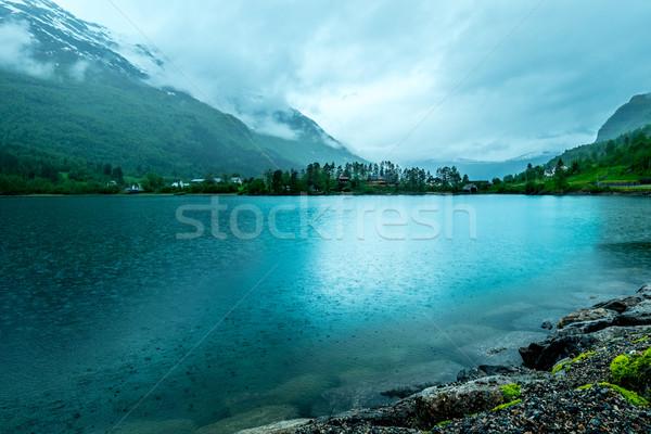 雨の 風景 ノルウェー 曇った 空 水 ストックフォト © cookelma