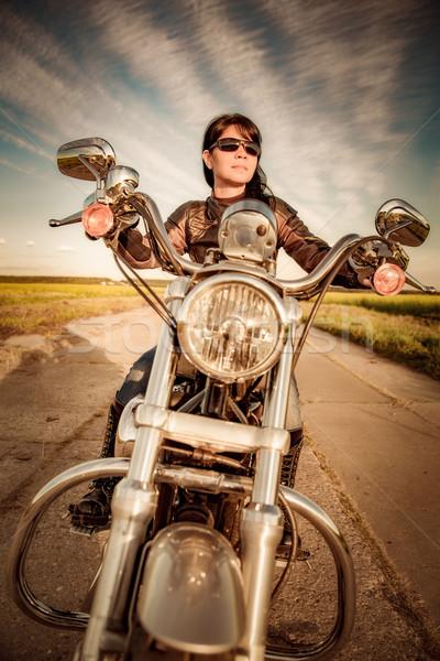 Kız motosiklet deri ceket seksi moda Stok fotoğraf © cookelma