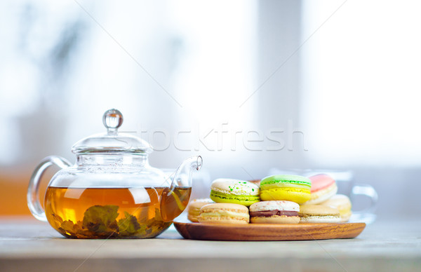 Close-up of colorful macaron (macaroon) on the table with hot te Stock photo © cookelma