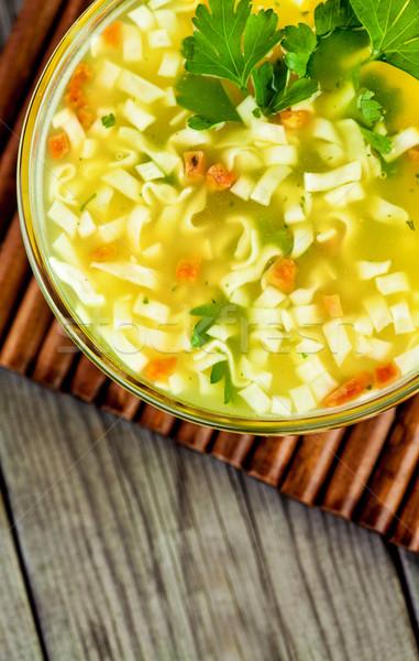 Stok fotoğraf: çorba · ahşap · masa · restoran · tavuk · akşam · yemeği
