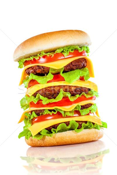 Sabroso apetitoso hamburguesa blanco bar queso Foto stock © cookelma
