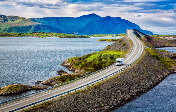 Atlantic Ocean Road Caravan car. Stock photo © cookelma