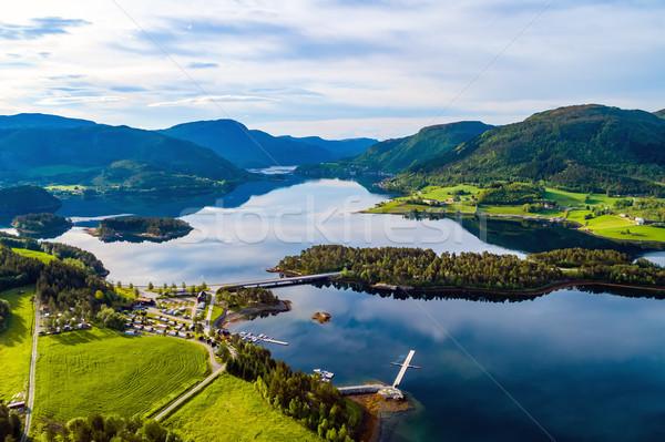 Piękna charakter Norwegia widok z lotu ptaka relaks Zdjęcia stock © cookelma
