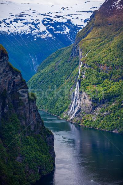 Norvegia cascata sette sorelle lungo ramo Foto d'archivio © cookelma