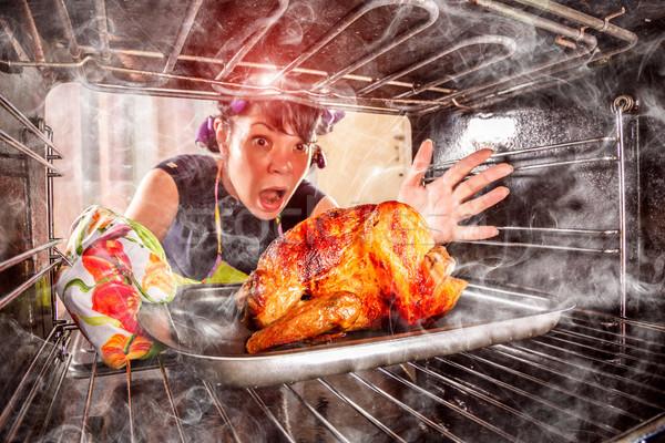Komik ev kadını öfkeli mağlup kader Stok fotoğraf © cookelma