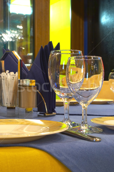 The served table at restaurant Stock photo © cookelma